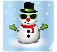 Cool Snowman with Shades and Adorable Smirk Poster