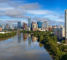 Aerial View of Lady Bird Lake and the Austin Skyline 1 by RobGreebonPhoto
