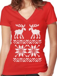 Moose Pattern Christmas Sweater Women's Fitted V-Neck T-Shirt