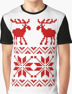 Moose Pattern Christmas Sweater Graphic T-Shirt