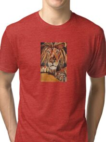 Relaxed Lion Portrait in Cubist Style Tri-blend T-Shirt
