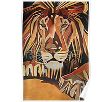 Relaxed Lion Portrait in Cubist Style Poster