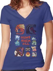 MONSTER HUNTER 4 - HUNT THEM ALL Women's Fitted V-Neck T-Shirt