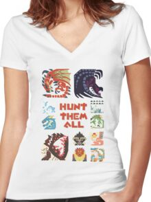 MONSTER HUNTER 4 - HUNT THEM ALL Women's Fitted V-Neck T-Shirt