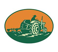 Farmer Worker Driving Farm Tractor by patrimonio