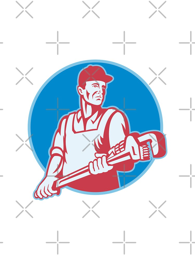 Plumber Worker Monkey Wrench Retro by patrimonio