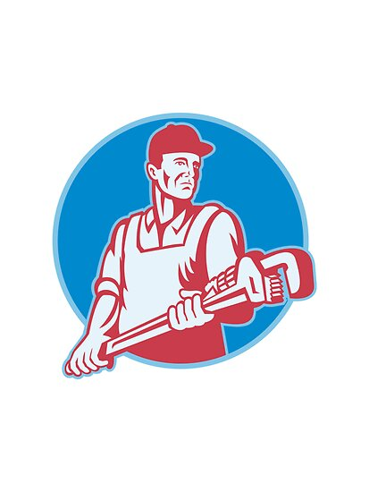 Plumber Worker Monkey Wrench Retro by patrimonio