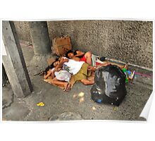 A family sleeping on the pavement Poster