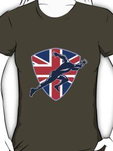 Runner Sprinter Start British Flag Shield T-Shirt