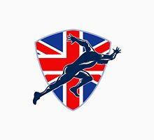 Runner Sprinter Start British Flag Shield Unisex T-Shirt