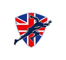 Runner Sprinter Start British Flag Shield Photographic Print