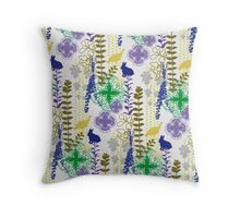 Garden Rabbit Fowl: 2 of 3 Throw Pillow
