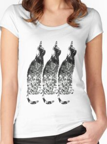Black and White Cats Women's Fitted Scoop T-Shirt