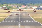 The Red Arrows Depart From Farnborough 2015 by Colin  Williams Photography