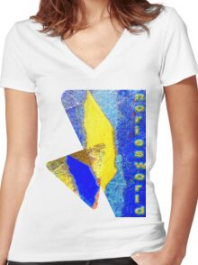 Noriesworld in Gold and Blue Women's Fitted V-Neck T-Shirt