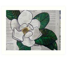 Newspaper Magnolia Art Print