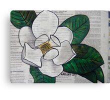Newspaper Magnolia Canvas Print
