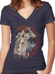 Keepers of the forest mononoke Women's Fitted V-Neck T-Shirt