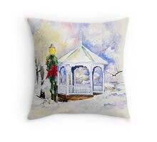 Christmas Gazebo Snow Scene Throw Pillow