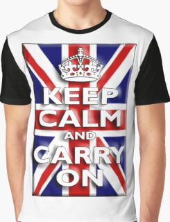 Keep Calm, & Carry On, Union Jack, Flag, Blighty, UK, GB, Be British! Graphic T-Shirt
