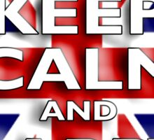 Keep Calm, & Carry On, Union Jack, Flag, Blighty, UK, GB, Be British! Sticker