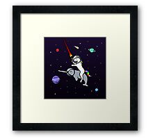 Unicorn Riding Narwhal In Space Framed Print