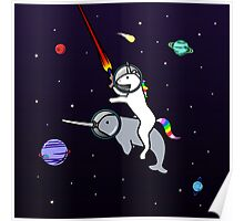 Unicorn Riding Narwhal In Space Poster