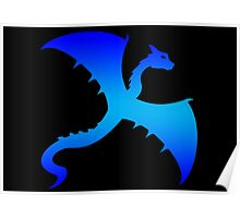 Blue Flying Dragon Design Poster