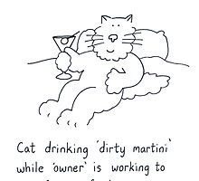 Cat drinking 'dirty martini'. by KateTaylor