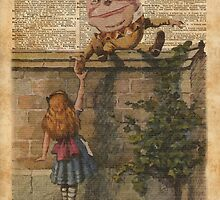 Humpty Dumpty Alice In Wonderland Vintage Dictionary Art by DictionaryArt
