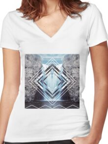 Waterfall Polyscape Women's Fitted V-Neck T-Shirt