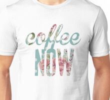 Polka Dot Floral Coffee Now Unisex T-Shirt