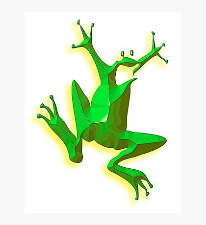 FROG, GREEN FROG, Cartoon, Jumping Jehoshaphat! Help! its the Green frog! Pond life Photographic Print