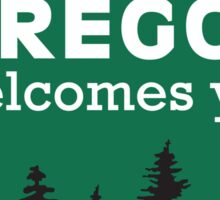 Oregon Welcomes You Road Sign Sticker