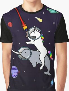 Unicorn Riding Narwhal In Space Graphic T-Shirt