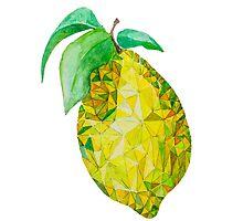 Low Poly Watercolor Lemon by LidiaP