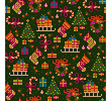 christmas x-stitch pattern for the holiday mood Photographic Print