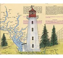 Cape Mudge Lighthouse BC Canada Nautical Map Cathy Peek Photographic Print