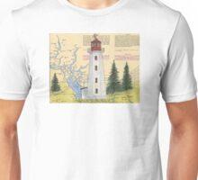 Cape Mudge Lighthouse BC Canada Nautical Map Cathy Peek Unisex T-Shirt