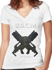 UNITED STATES COLONIAL MARINES Women's Fitted V-Neck T-Shirt