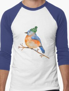 Watercolor Winter Bird Men's Baseball ¾ T-Shirt
