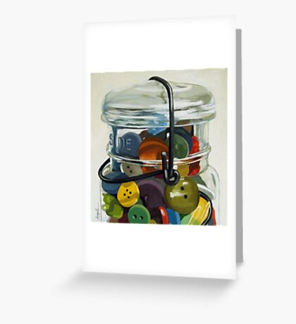 Old Button Jar - still life oil painting Greeting Card