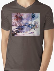 Snow in the forest Mens V-Neck T-Shirt