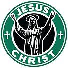 Jesus Christ Starbucks Logo Replacement Sticker by mrkenray