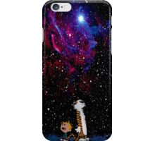 Calvin and hobbes night sky galaxy iPhone Case/Skin