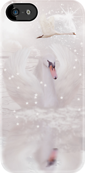 Fantasy Swan iPhone Case Dusky Pink by Moonlake
