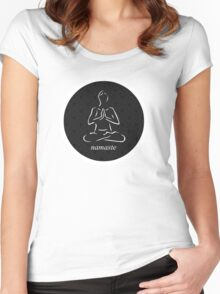 Yoga Namaste Calmness (White) Women's Fitted Scoop T-Shirt