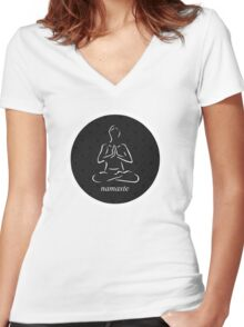 Yoga Namaste Calmness (White) Women's Fitted V-Neck T-Shirt
