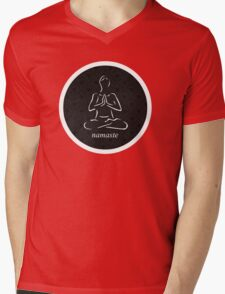 Yoga Namaste Calmness (White) Mens V-Neck T-Shirt