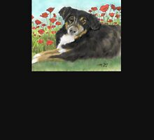 Australian Shepherd Dog Poppies Cathy Peek T-Shirt